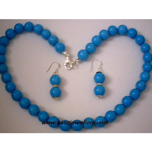 NATURAL 10MM TURQUOISE BEADS & 925 STERLING SILVER SET
