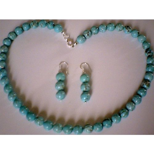 NATURAL 8MM TURQUOISE BEADS & 925 STERLING SILVER SET