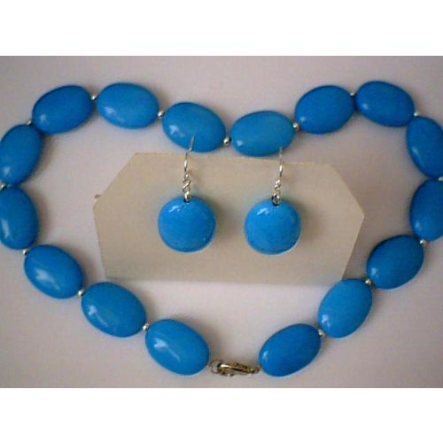 SUPERB TURQUOISE SET NECKLACE /EARRING WITH 925 SS HOOK